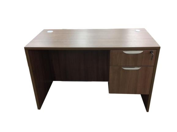 "Modern Walnut Straight Desk With Hanging File - 24""D x 47""W"