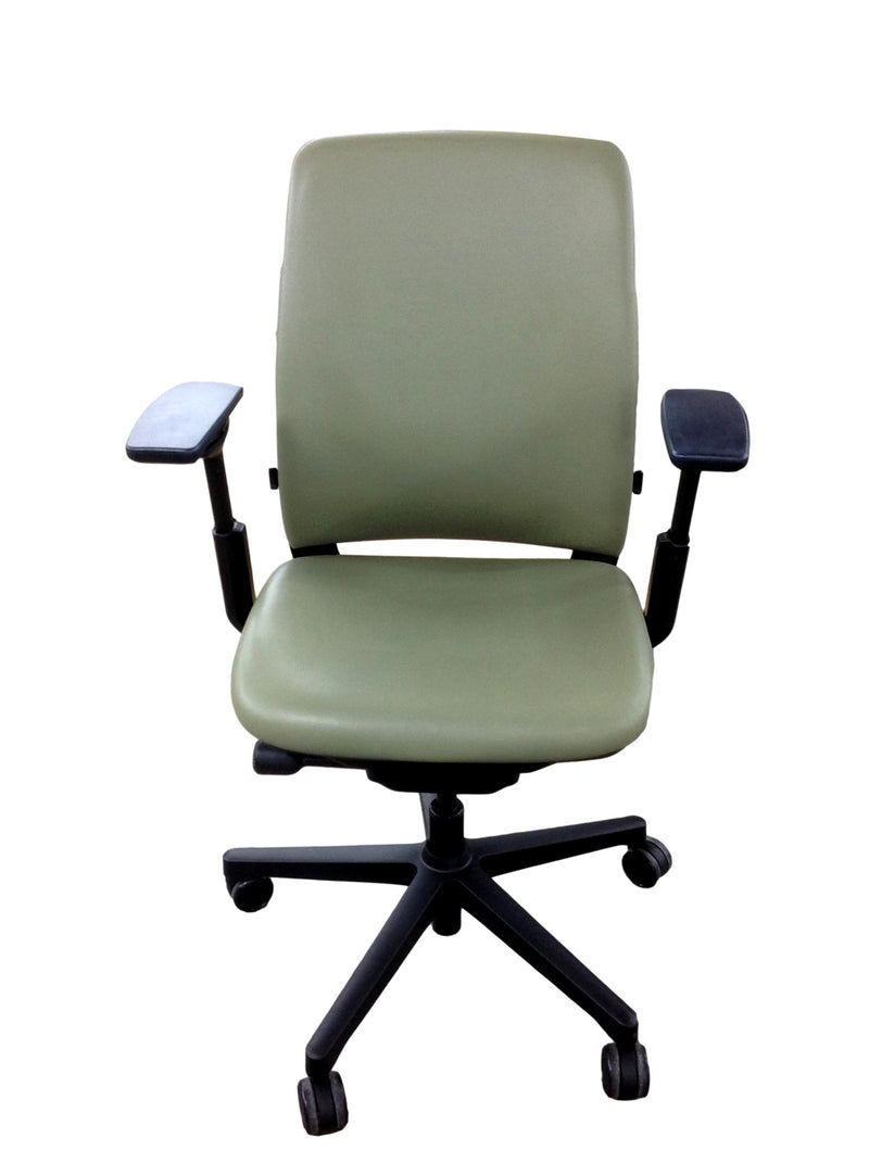 Steelcase Amia - Olive Green Leather