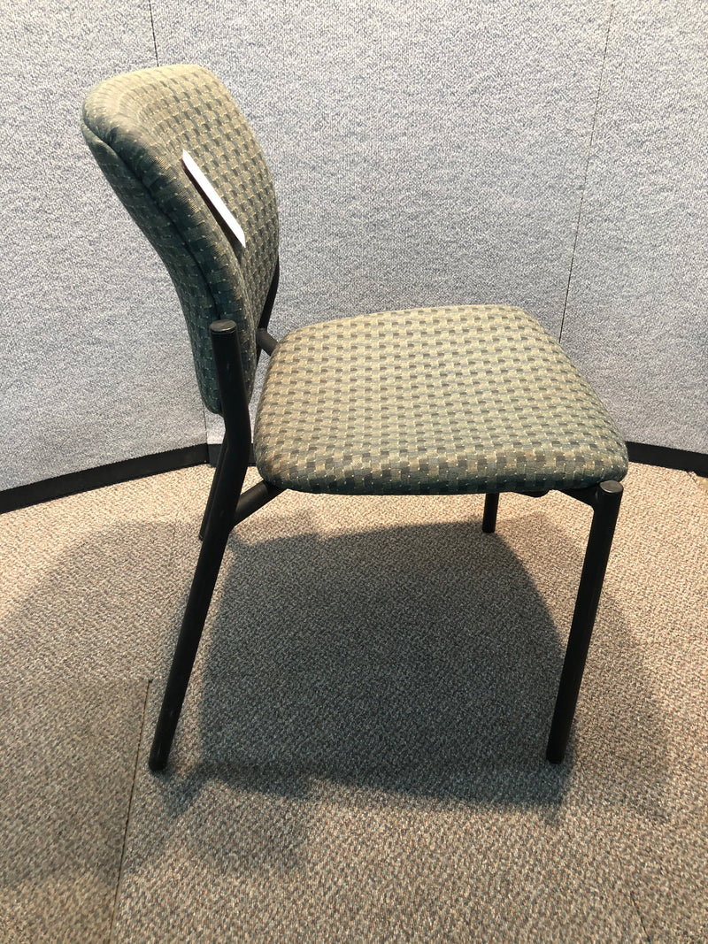Used Guest Chair in Green Checkered Pattern with Metal Frame - Value Office Furniture & Equipment
