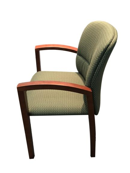 National Triumph Guest Chair in Green Fabric and Cherry Frame