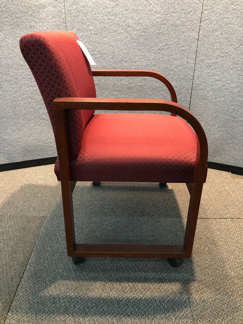 Used Guest Chair in Red Fabric, Mahogany Frame and on Wheels - Value Office Furniture & Equipment