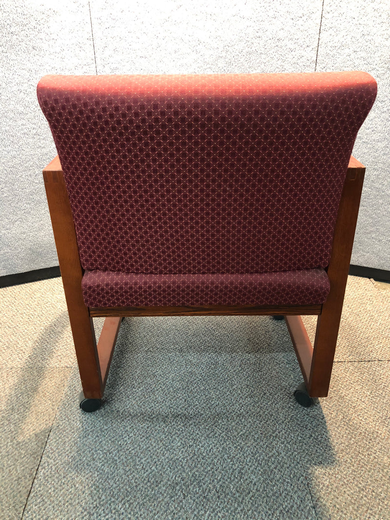 Used Guest Chair in Red Fabric, Mahogany Frame and on Wheels