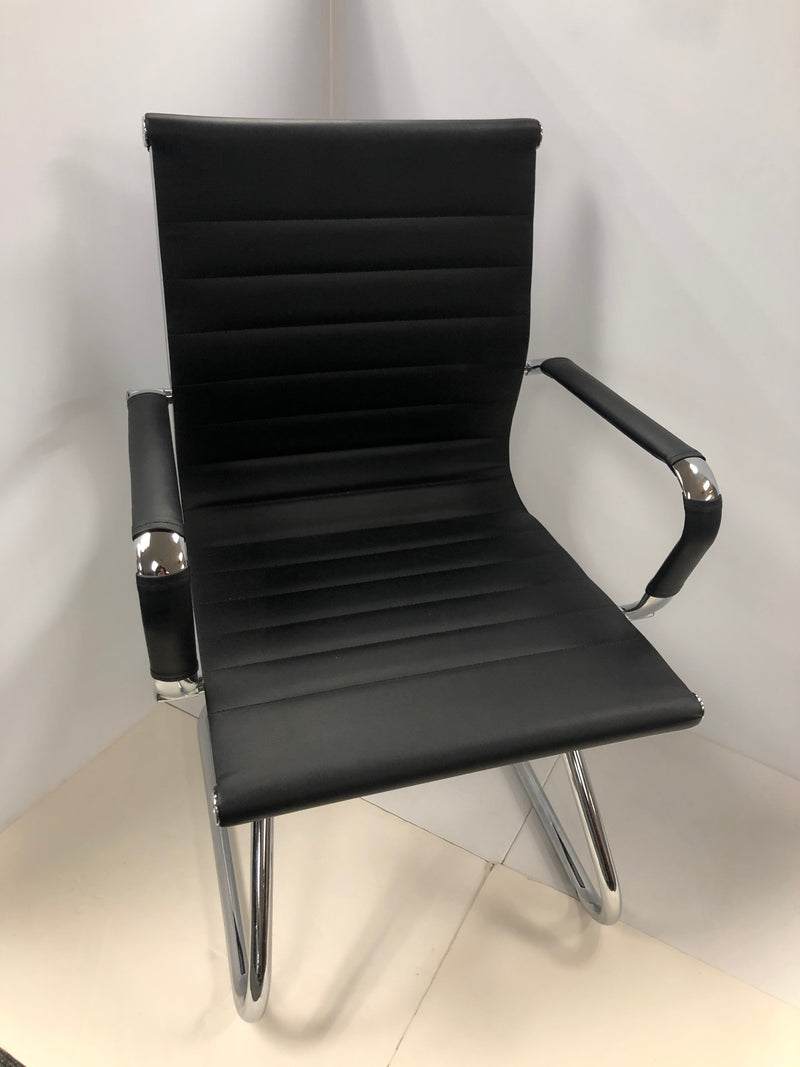 Sled Base Guest Chair W/Chrome Frame and Padded Arms