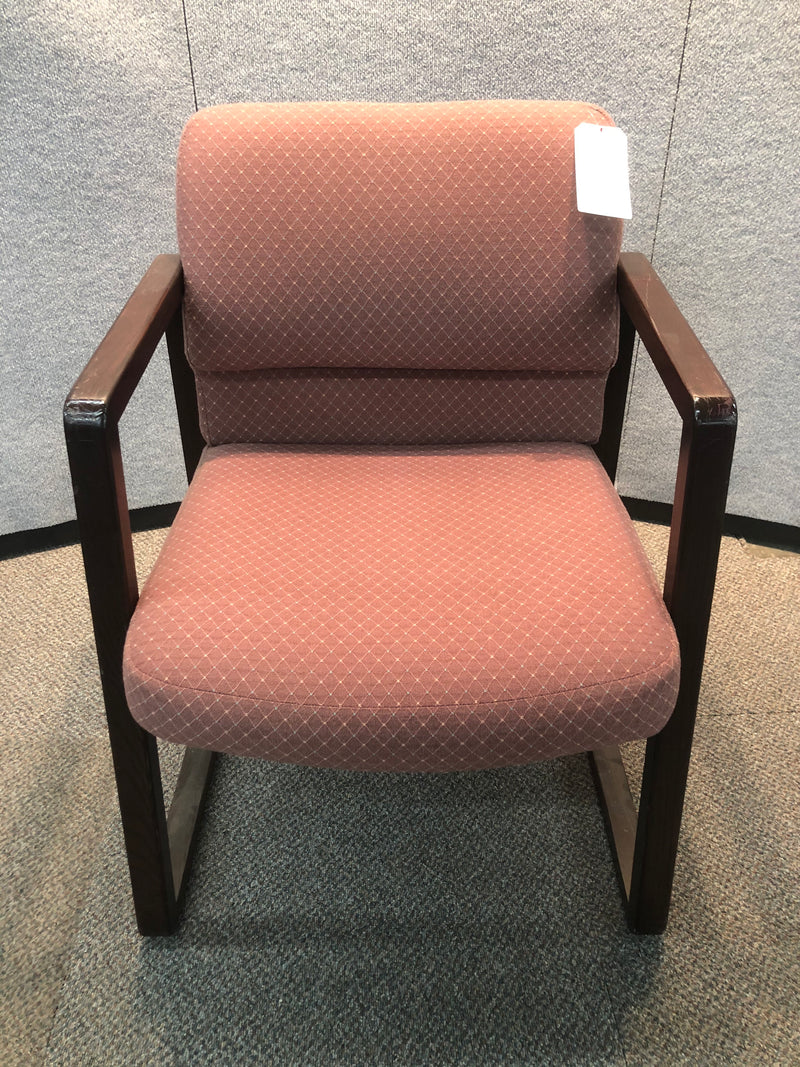 Used Hon Guest Chair with Red Fabric and Mahogany Frame