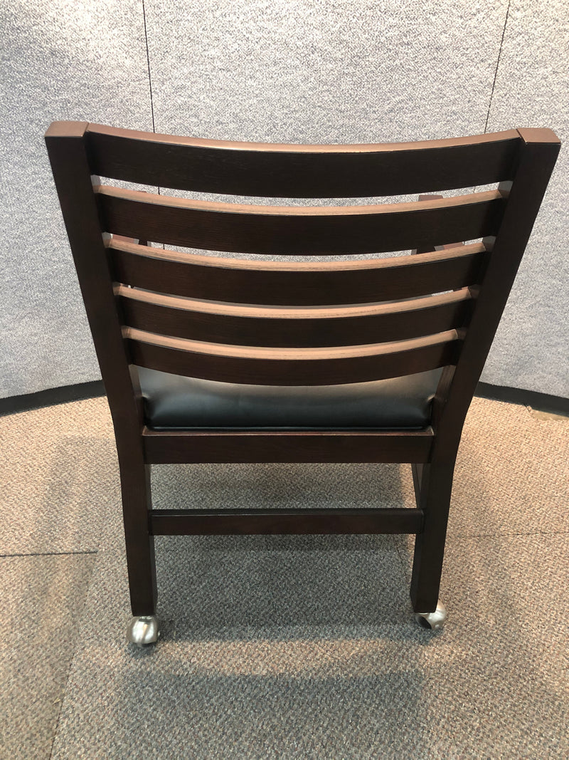 Used Guest Chair with Casters in Black Leather and Mahogany Frame