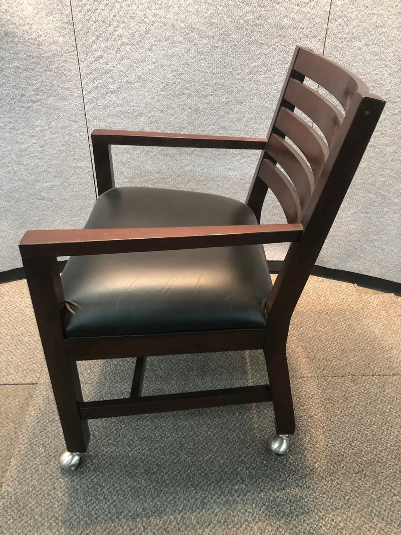 Used Guest Chair with Casters in Black Leather and Mahogany Frame - Value Office Furniture & Equipment