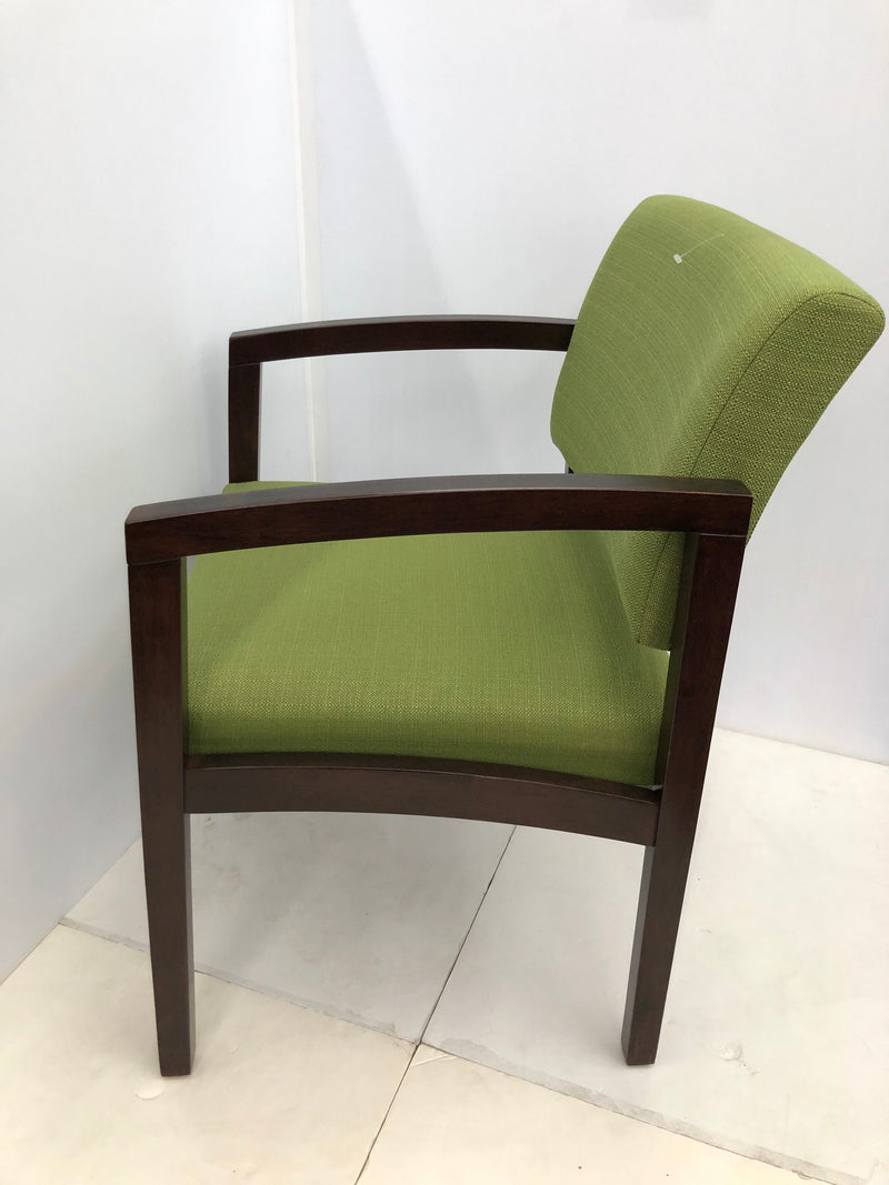 Office Source #1700 Guest Chair with Kashmir (Green) Fabric in Variety of Woods