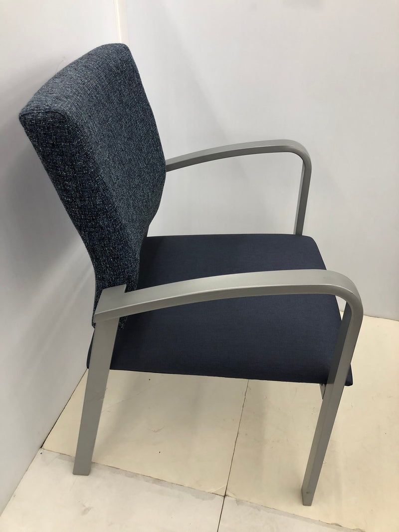 Lesro Lenox Steel and Blue Fabric Guest Chair