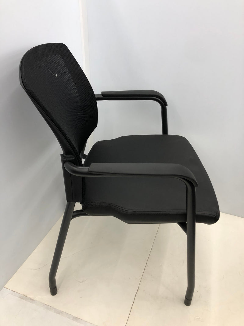 Office Source Micro Mesh Side Chair with Black Leathertek Seat