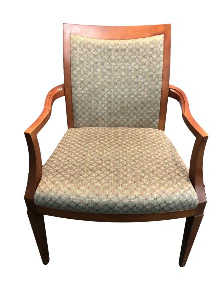 Grey Pattern Fabric With Cherry Frame Guest Chair