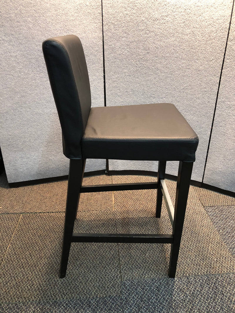 Black Leather Seat and Back Cafe Height Stool