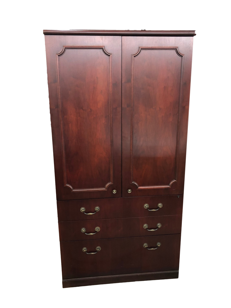 Mahogany Veneer Storage Entertaiment Center Cabinet
