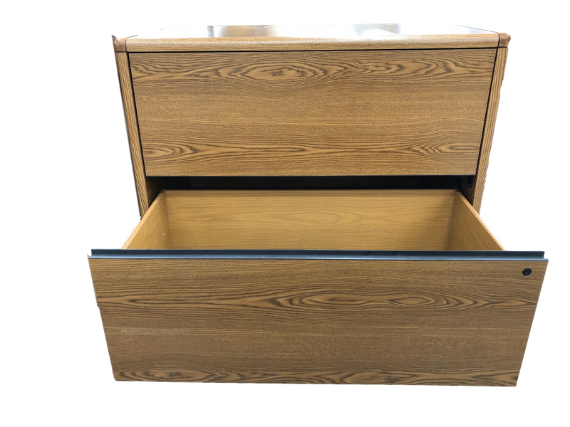 Oak 2 drawer wood lateral file