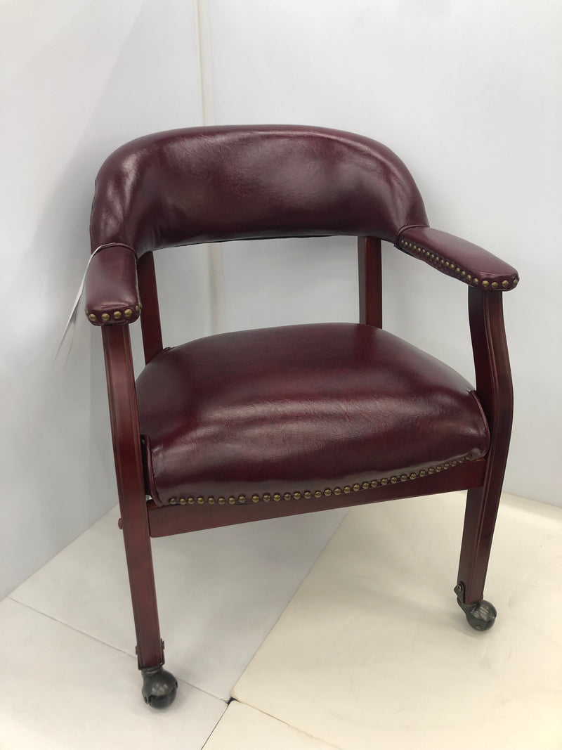 Guest Chair W/Casters & Mahogany Frame