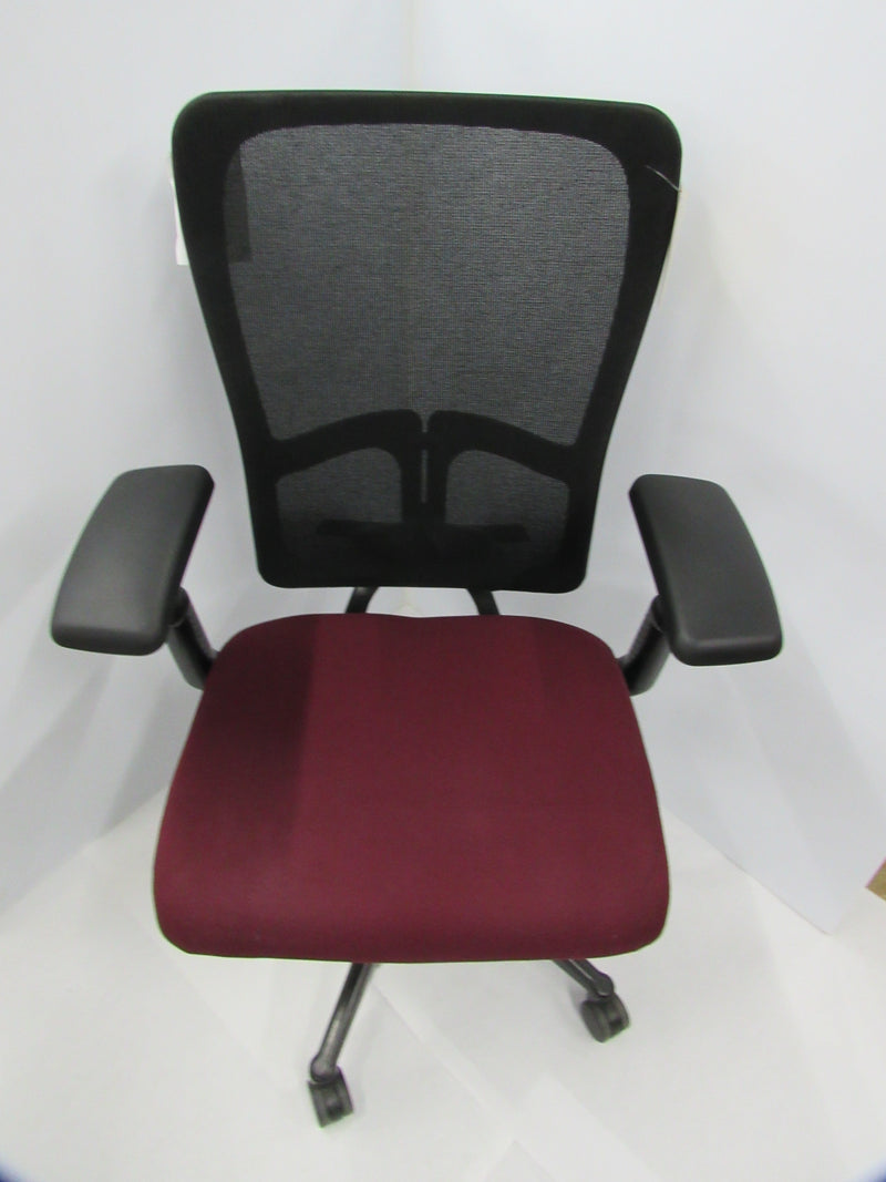 Hayworth Black Mesh/Burgundy Seat Task Chair - Value Office Furniture & Equipment
