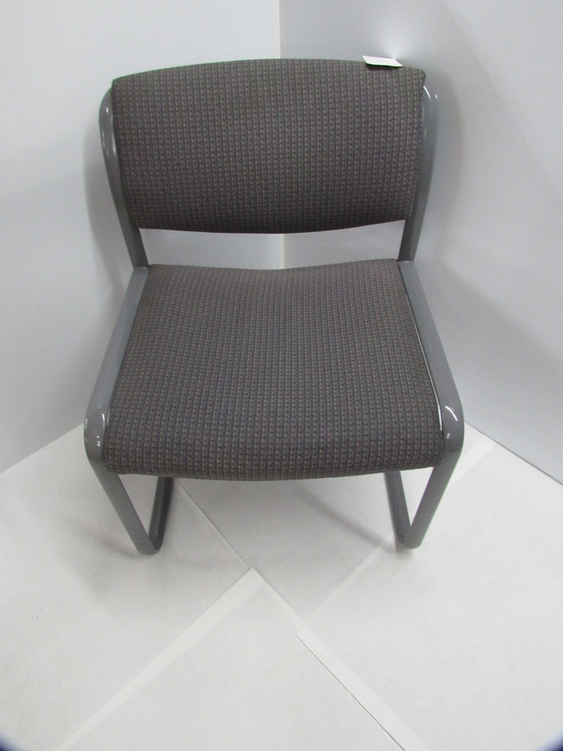 Gray Fabric/Metal Armless Matching Guest Chairs