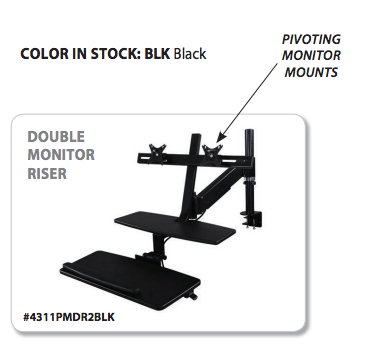 Double Monitor Riser Sit/Stand Pole Mount Workstation