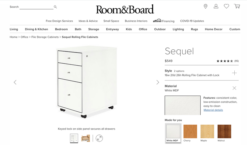 Room & Board Rolling File Cabinet
