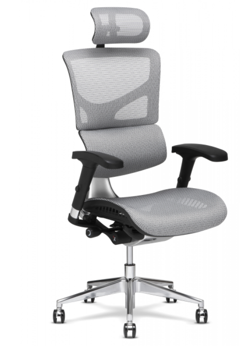 X-Chair - X-2 -White Flex Mesh K-Sport Mgmt Chair With Headrest and Massager