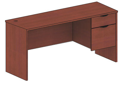"Candex Single Pedestal Desk 60"" with Return 42"""