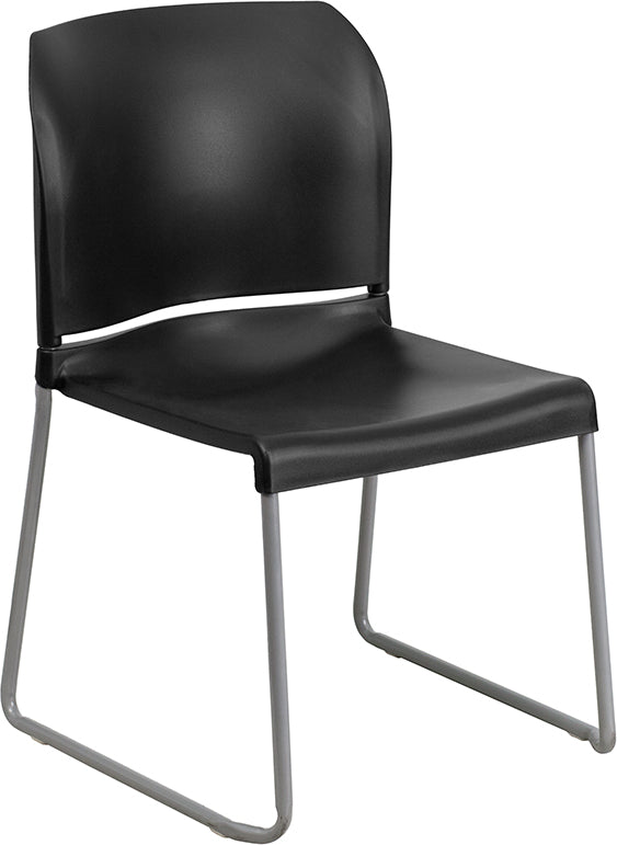 Hercules Black Full Back Contoured Stack Chair with Grey Sled Base