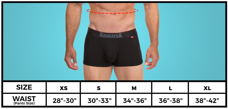 sizing guide krakatoa trunk deep black