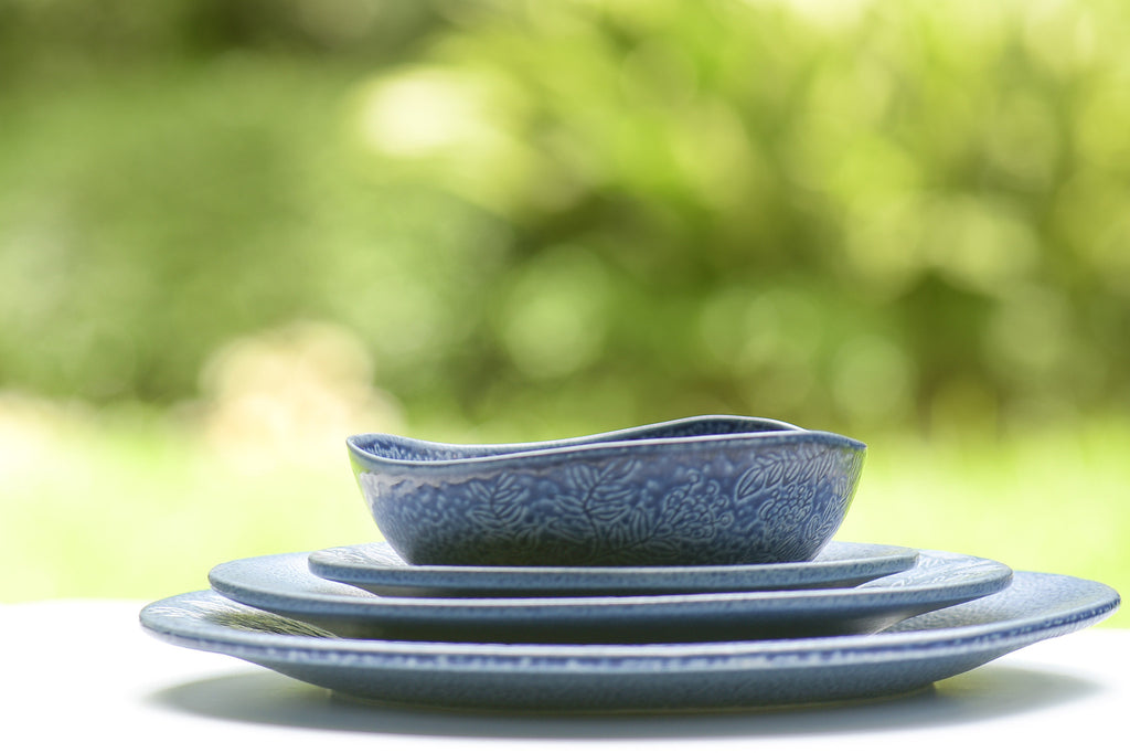 Patio Blue Ceramic Stoneware Plates