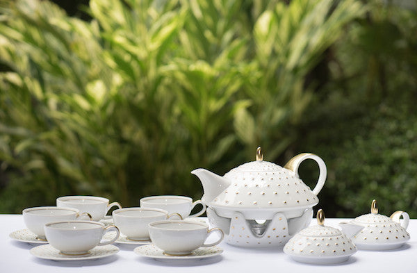 Monaco Tea Set White Gold