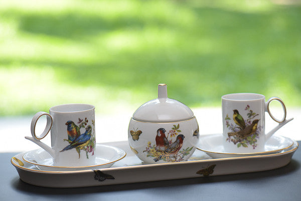 birds of paradise tea set