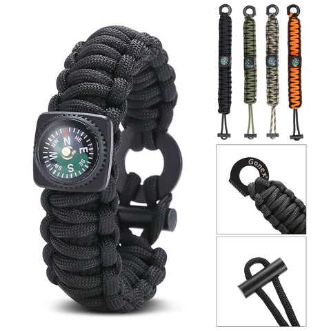 Paracord 550 Survival Bracelet, Emergency Survival Kit with Compass, Eye Knife, Fire Starter, Fishing Tool for Camping,