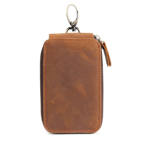 Kattee Handmade Genuine Leather Zipper Key Chain Case Pouch Credit Cards Holder