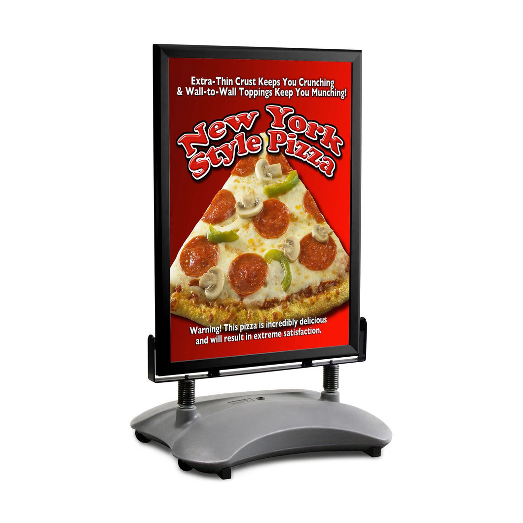 Black sidewalk sign with sand/water-filled base for poster size 24X36 - 1.7 inch profile - Snap Frames Direct