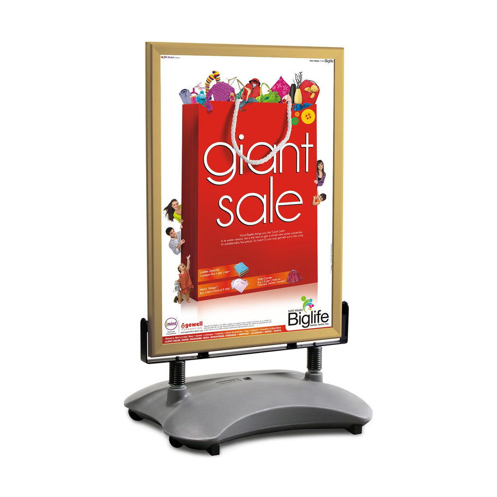 Gold sidewalk sign with sand/water-filled base for poster size 22X28 - 1.7 inch profile - Snap Frames Direct