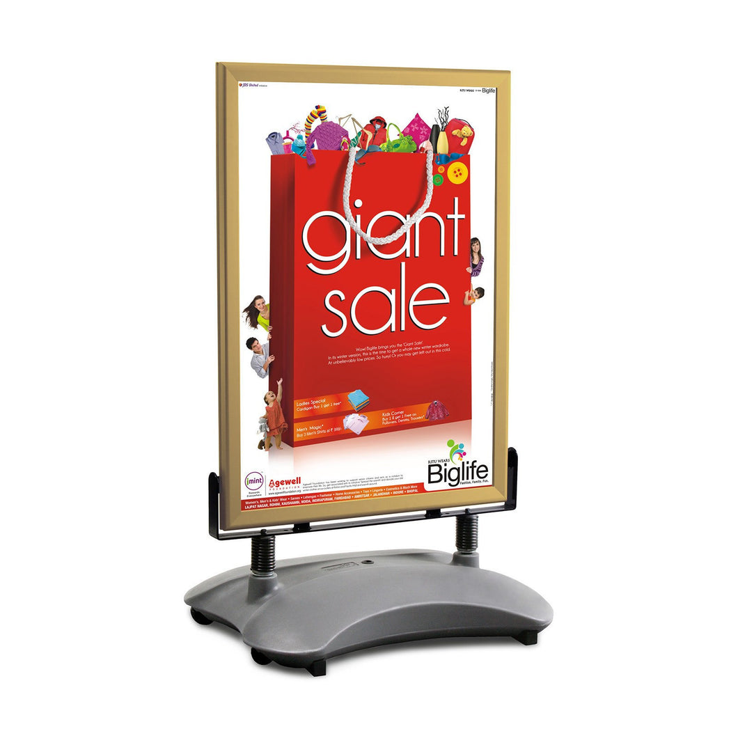 Gold sidewalk sign with sand/water-filled base for poster size 24X36 - 1.7 inch profile - Snap Frames Direct