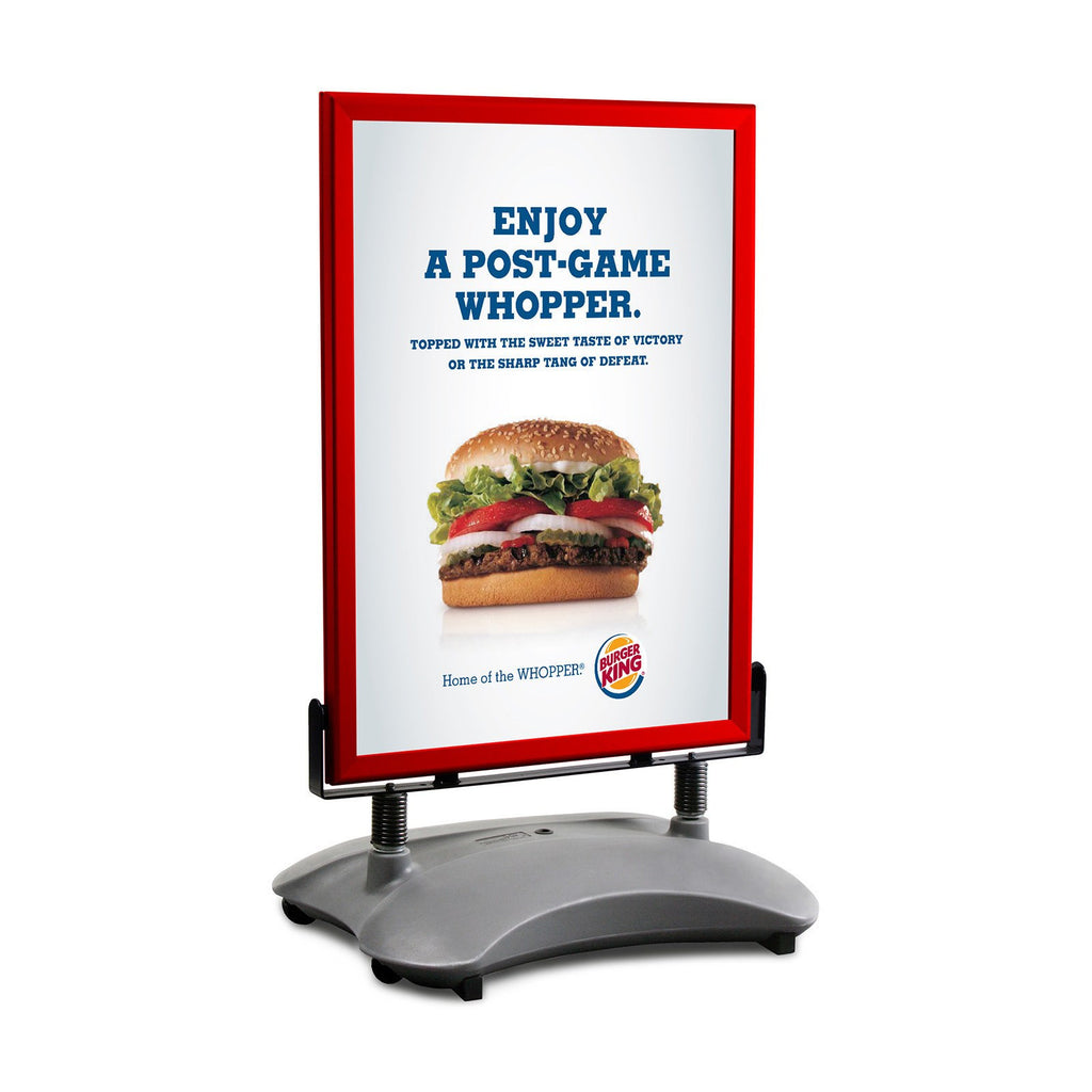 Red sidewalk sign with sand/water-filled base for poster size 22X28 - 1.7 inch profile - Snap Frames Direct