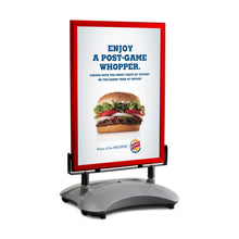Load image into Gallery viewer, Red sidewalk sign with sand/water-filled base for poster size 22X28 - 1.7 inch profile - Snap Frames Direct