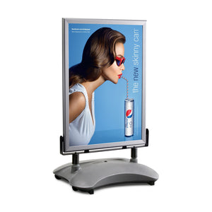 Silver sidewalk sign with sand/water-filled base for poster size 30X40 - 1.4 inch profile - Snap Frames Direct