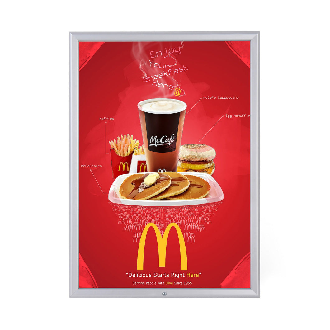 Silver locking snap frame poster size 22X28 - 1.25 inch profile - Snap Frames Direct