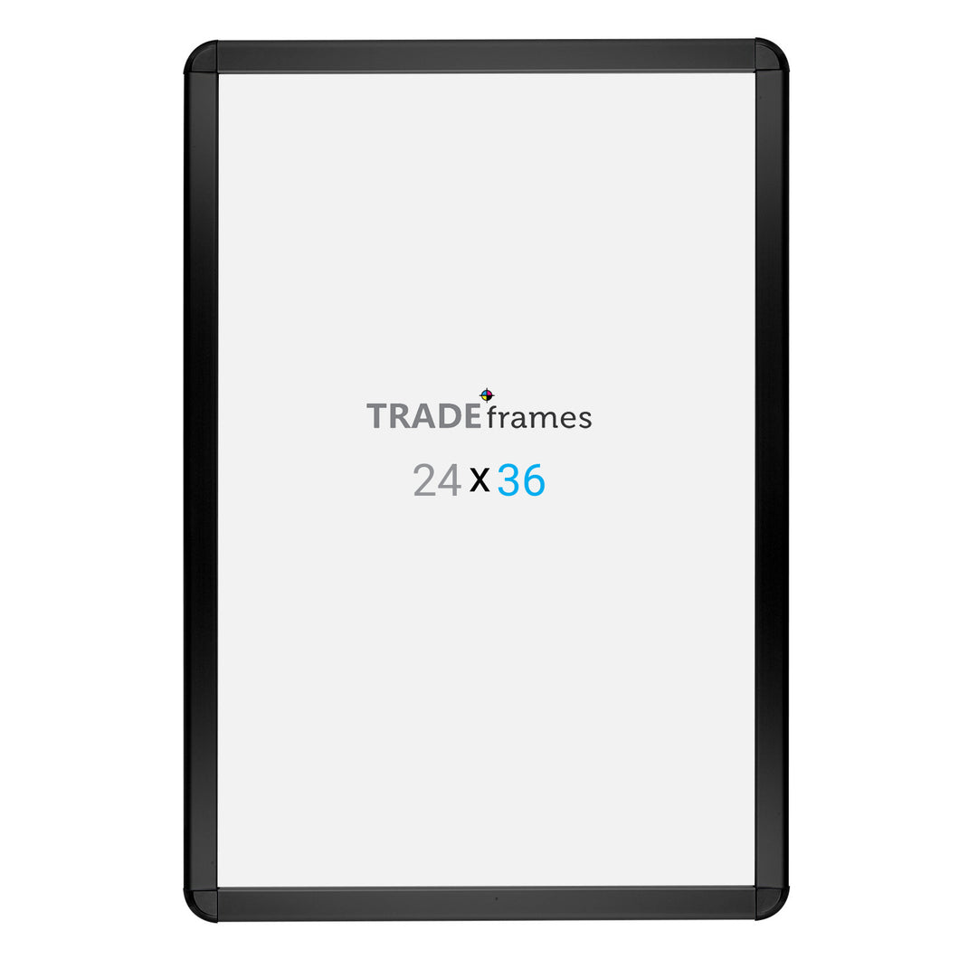 Black radial, round-corner snap frame poster size 20X30 - 1.25 inch profile - Snap Frames Direct