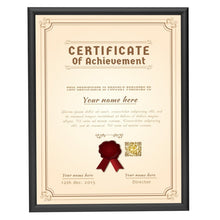 Load image into Gallery viewer, Black certificate snap frame poster size 8.5x11 -  0.6 inch profile - Snap Frames Direct