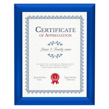 Load image into Gallery viewer, Blue certificate snap frame poster size 8.5X11 - 1 inch profile - Snap Frames Direct