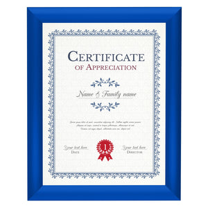 Blue certificate snap frame poster size 8.5X11 - 1 inch profile - Snap Frames Direct