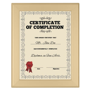 Gold certificate snap frame poster size 8.5X11 - 1.25 inch profile - Snap Frames Direct