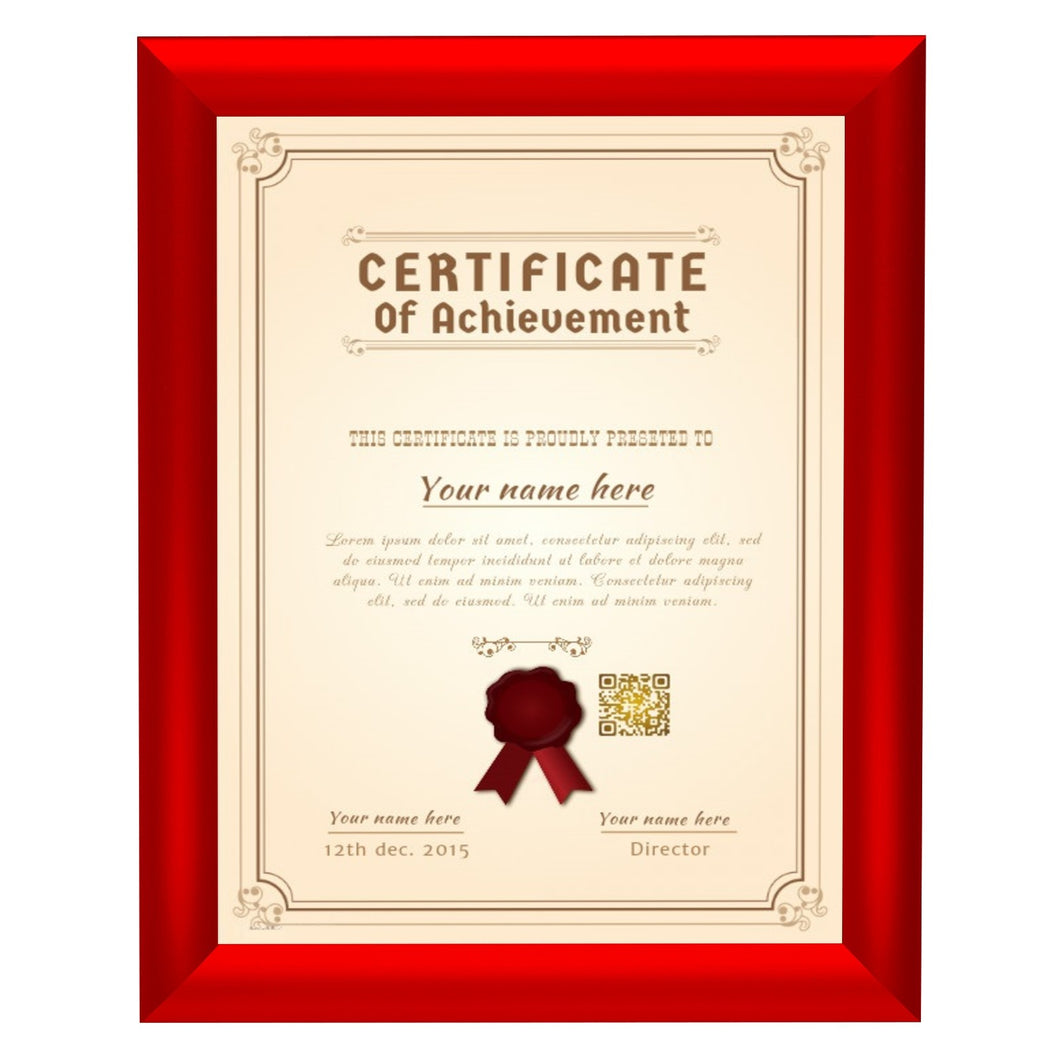 Red certificate snap frame poster size 8.5X11 - 1 inch profile - Snap Frames Direct