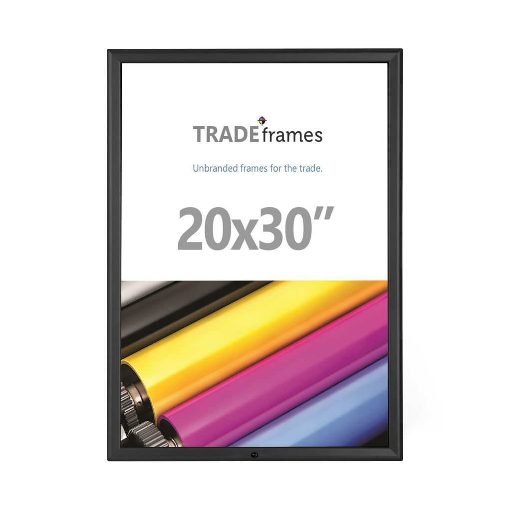 Black locking TRADEframe snap frame, media size 20X30 - 1.25 inch profile - Snap Frames Direct