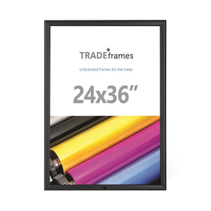 Black locking TRADEframe snap frame, media size 24X36 - 1.25 inch profile - Snap Frames Direct