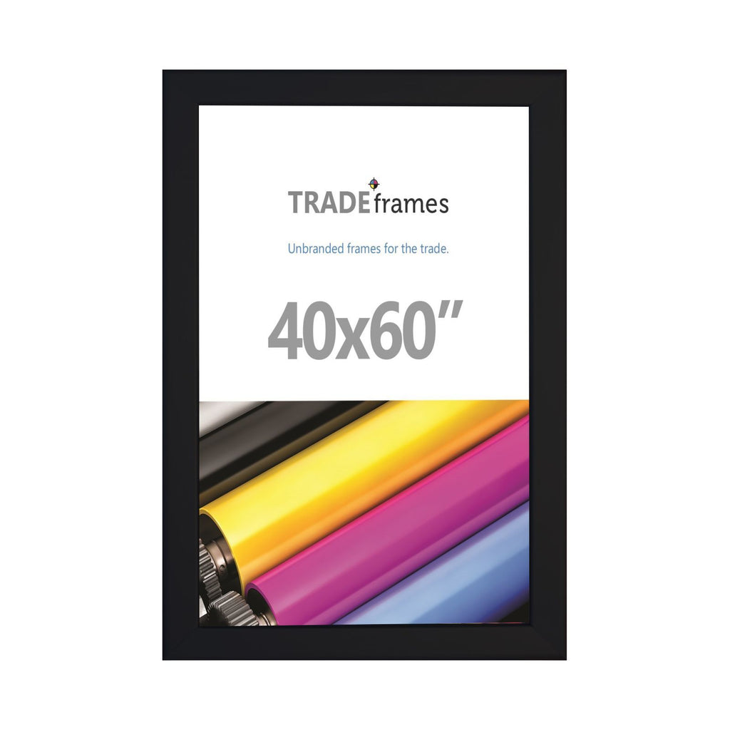 Black TRADEframe snap frame, media size 40x60 - 1.25 inch profile - Snap Frames Direct