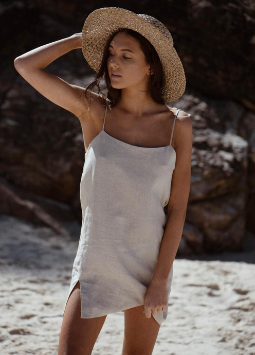 Bronte Linen Mini Slip Dress in natural sand colour by Australian resortwear label Rebel & Stone