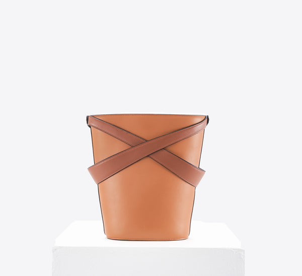 Cage Bucket Bag (caramel & tan)