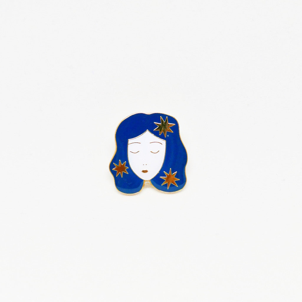Cosmic Girl Portrait Pin